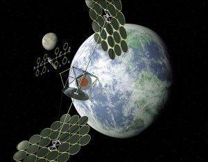 Sert concept, cabled solar powerplant satellite