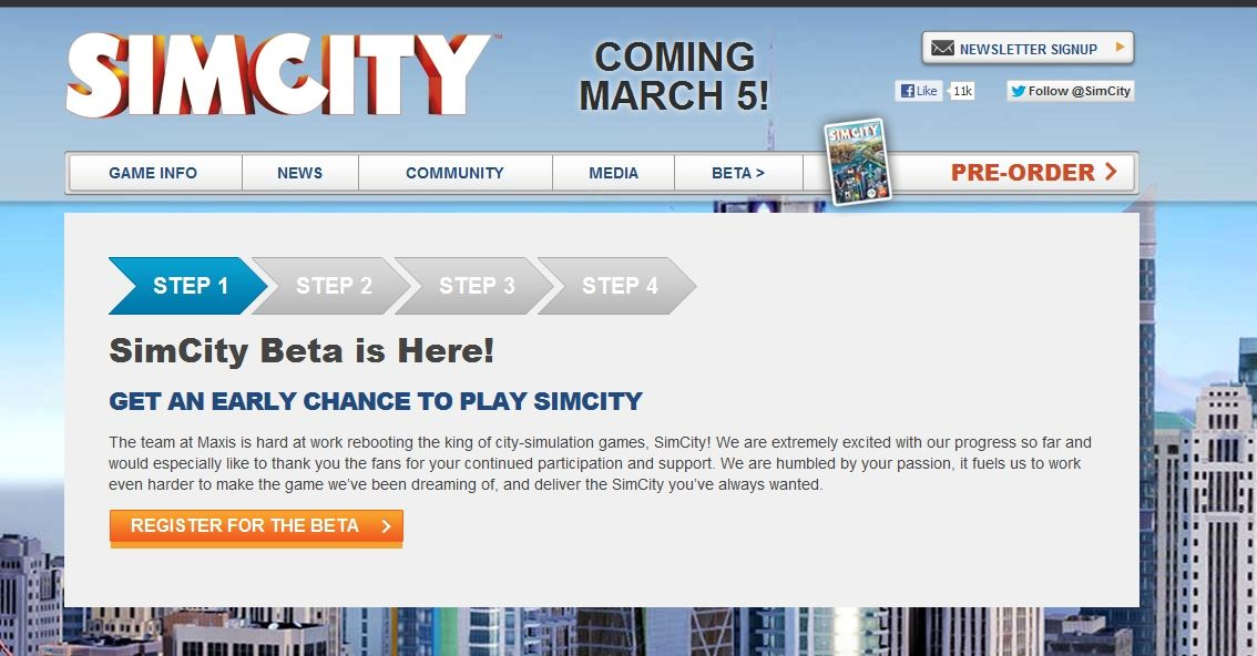Get to be a simcity beta tester