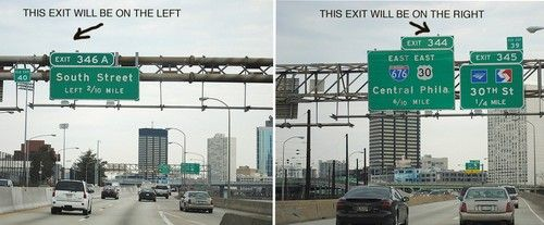 The position of highway signs tells you the direction of the exit