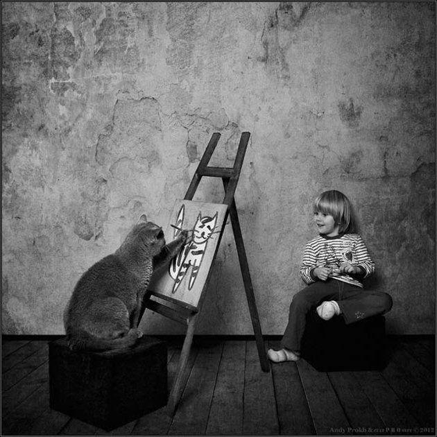 cat paints girl