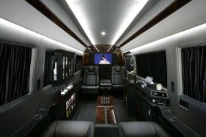 the inside of a high end sprinter van